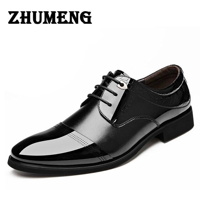 ed63b10a8 2017 الأزياء الإيطالية الفاخرة اللباس رجالي أحذية جلد طبيعي أسود براون  تصميم الشقق للرجال الأعمال ol