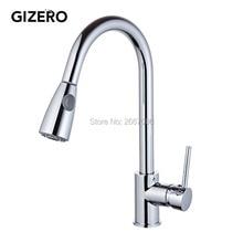 Gizero Бесплатная доставка Одной ручкой на бортике вытащить опрыскиватель кухонный кран горячая холодная Chrome латунь смесители кран GI880