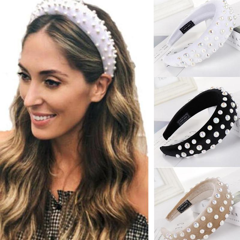 2019 Handmade Thick Velvet Headbands for Women Accessories Hair Band 4CM Wide Simulation Pearls   Headwear   Padded Hairbands