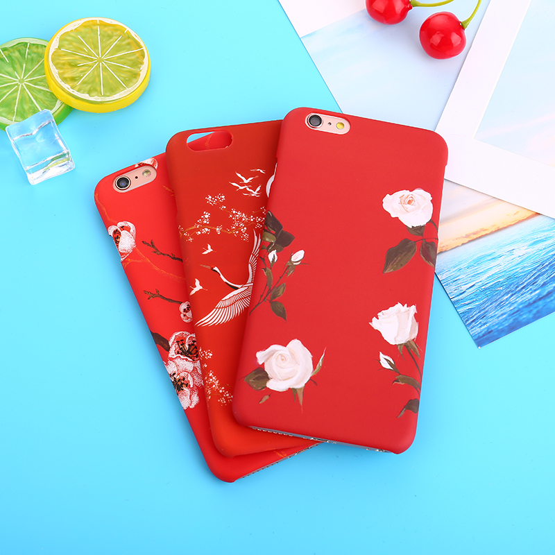 White Rose Flowers Phone Cases For iPhone 7 8 Plus Vintage Floral Case For iPhone X 8 7 6 6s plus hard pc Red Woman Case