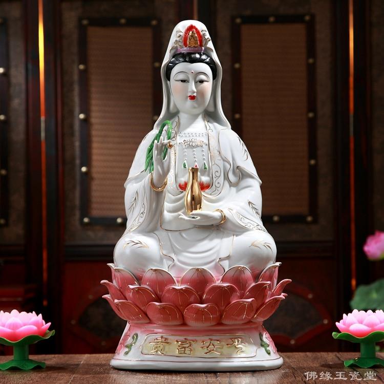 Sentado en el loto Buddha, Buda Guanyin, cerámica, paz y bienestar, Bodhisattva, estatua de luz abierta-in Estatuas y esculturas from Hogar y Mascotas    1