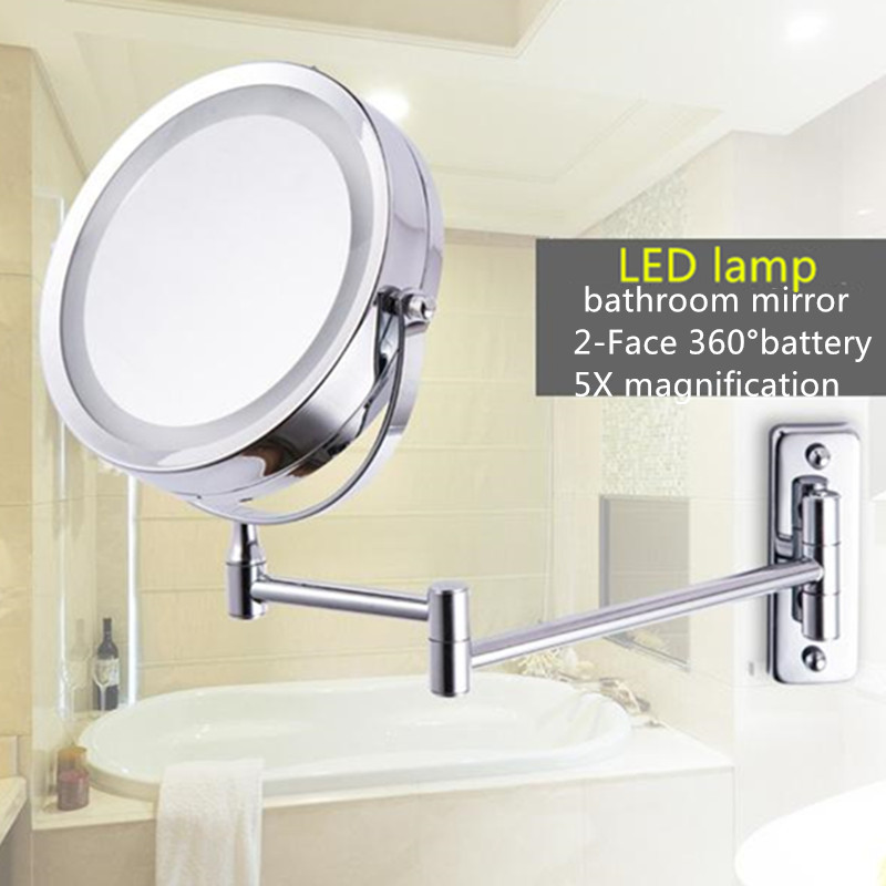 New Fashion 6 Inches Led Bathroom Mirror Dual Arm Extend 2 Face Metal Makeup 5X Magnifying Wall Mounted Extending Folding
