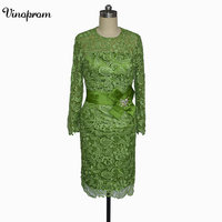 2018 Newest Green Short Mother Of The Bride Dresses Lace Knee Length Long Sleeves Mother Bride Dresses Short Prom Dresses