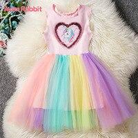 Aven Rabbit girls dress unicorn kids dresses for girls summer sleeveless vestidos colorful colors princess dress unicorn dress