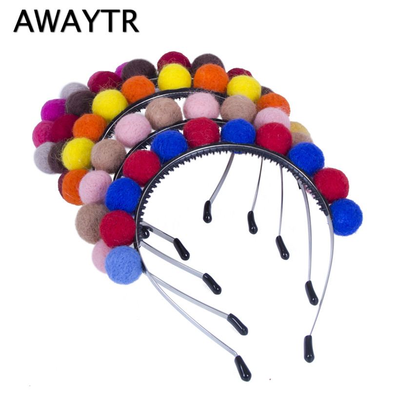 Winter Hair Accessories AWAYTR Wool Pompom Fur Headbands for Girls Fashion Women Hair Ball Cute Children Hairbands Headwear women headwear 2017 retro hair claw cute hair clip for girls show room vitnage hair accessories for women