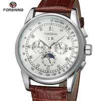 FSG319M3S3 New arrival Automatic fashion men moon phase watch black genuine leather strap free shipping with gift box