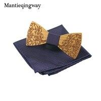 Mantieqingway Marca Camisas do Partido Gravata borboleta Bolso Conjunto Quadrado De Madeira Para Homens Moda Handmade Laços Bowties Bowknot Arco De Madeira