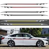 Модификация кузова автомобиля Наклейка на уровне талии автомобильное тело гоночная Боковая дверь длинные полосатые наклейки Авто Винилов...
