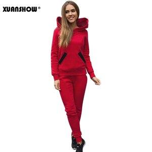 Image 5 - XUANSHOW 2020 אופנה סתיו חורף אימונית נשים נים חולצות + ארוך מכנסיים שתי חתיכה להגדיר תלבושות סרוג Chandal Mujer