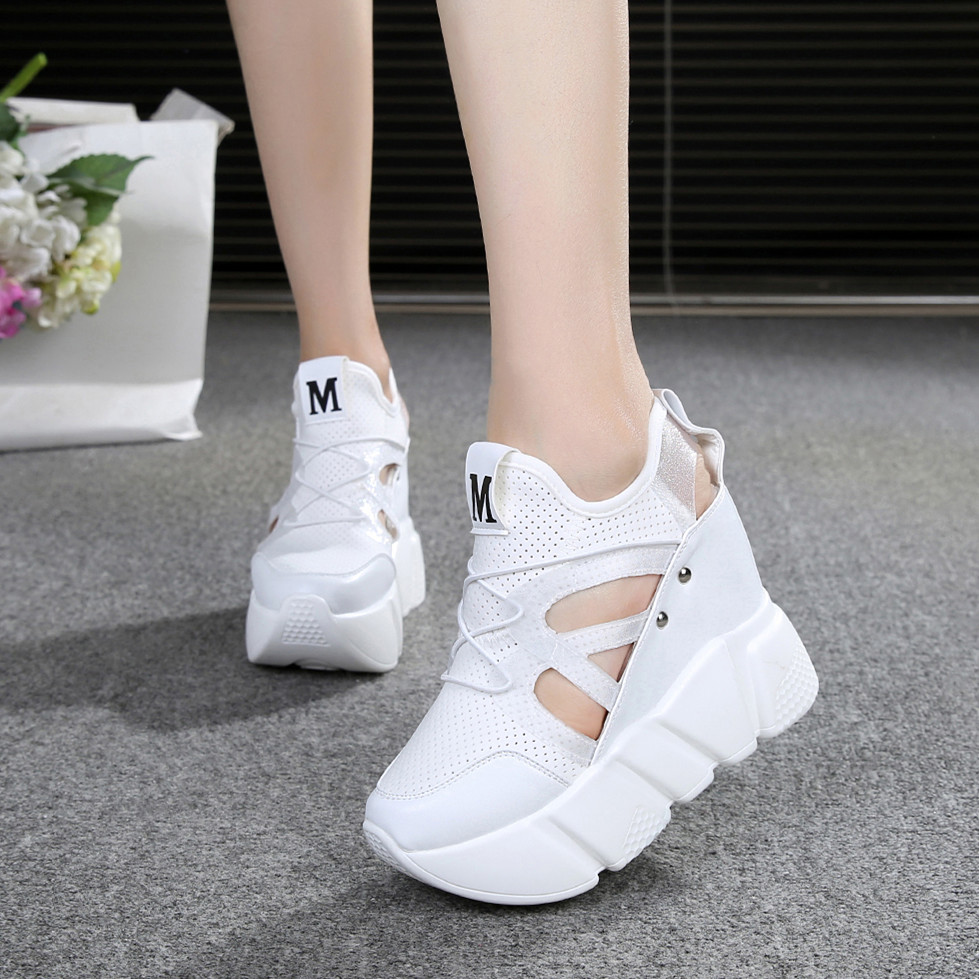 Pumps Pink Wedges Incresing-Shoes Hidden-Heels White Lace-Up Breath-Height 12cm Women