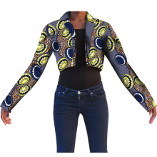 Fashion Africa Print Women Short Suit Festive With Long Sleeve Suit Jacket Tailored Festive Costume