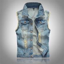 6XL Men's Denim Vest Male Light Color Slim Fit Sleeveless Jackets Men Jeans Waistcoat Hole Washed Cowboy Brand Clothing LA029