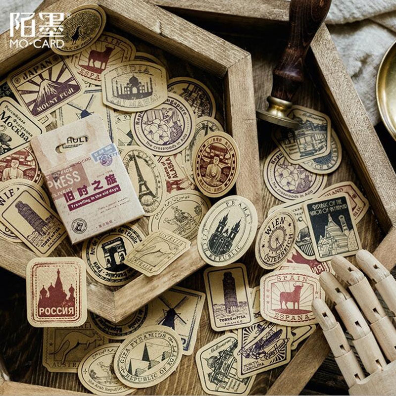 46 Pieces / Box Retro Travel Stickers Kraft Paper Label Seal Sticker Ornament Scrapbook Diary Album Diy Learning Stationery
