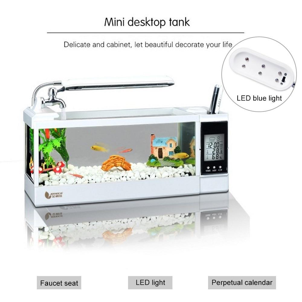 Mini Aquarium Aquarium Aquarium avec lampe à LED lumière LCD écran d'affichage USB horloge Aquarium de bureau Aquarium poissons réservoirs 220V