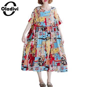 631277a43f8b Oladivi talla grande mujer Casual Camisa suelta señoras imprimir Blusas de  manga corta túnica ...