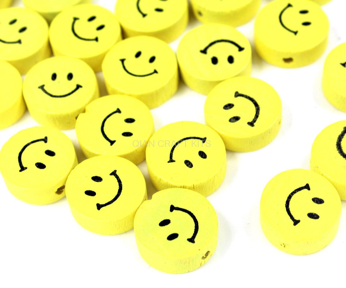 300pcs Yellow Color Smiley Face Beads  17mm, Wooden Yellow Smiling Wood Beads With Holes For Stringing D15