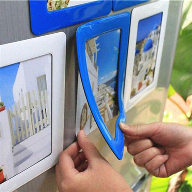 Coloridos marcos magnéticos 11,8*16cm foto imanes Photoframe Refrigerato PVC decoración del hogar foto magnética moderna nevera nuevo