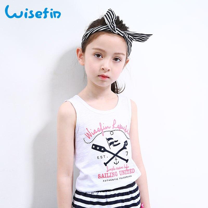 Wisefin Children Tshirt For Girls Sleeveless Tops White Child Girl Tees Kids Clothes O-Neck Childrens Girl Clothing T-Shirt