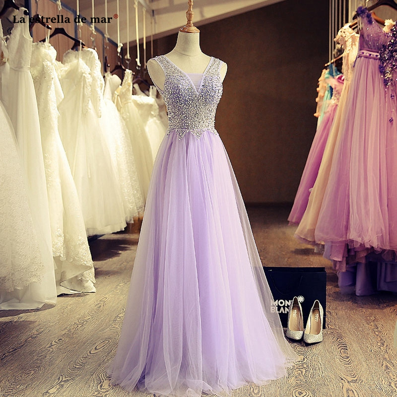 vestidos de damas de honor boda new tulle crystal sexy V neck A Line lilac   bridesmaid     dress   long wedding party gown real photo