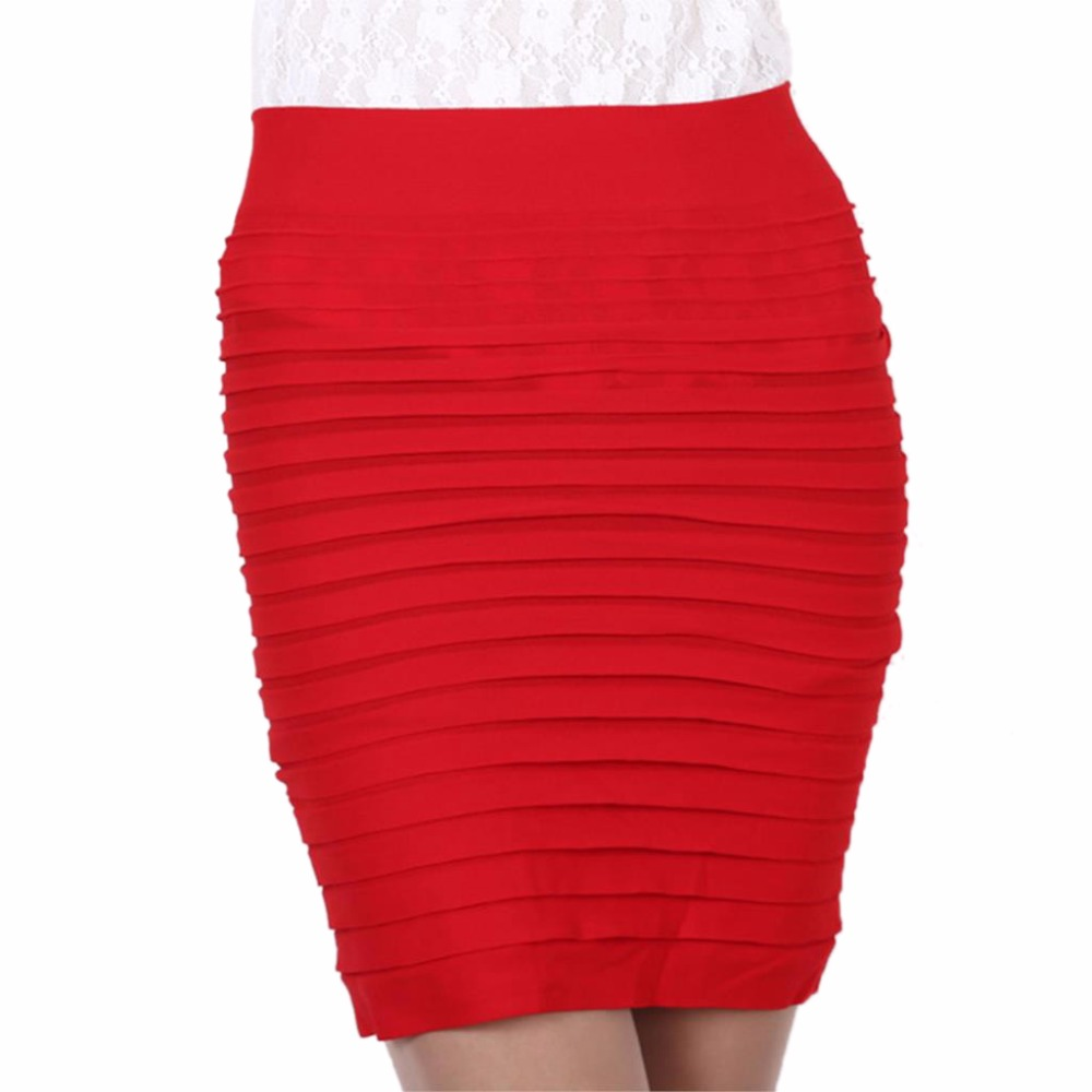 15 Colors Mini Jupe Bandage Slim Bodycon Bandage Skirts High Waist Elastic Pleated Hip Short Pencil Skirt Women Summer Lady Saia