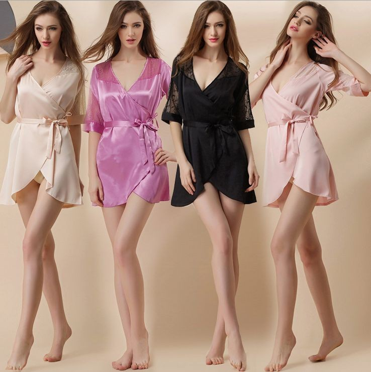 Women\'s Above Knee Polyester Sleep Lounge Robes RBS-G RB12 2