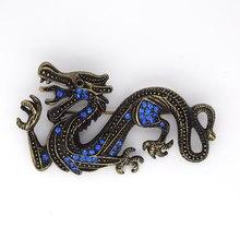 Antique Bronze Blue Rhinestone Dragão Pin broches C299 B4