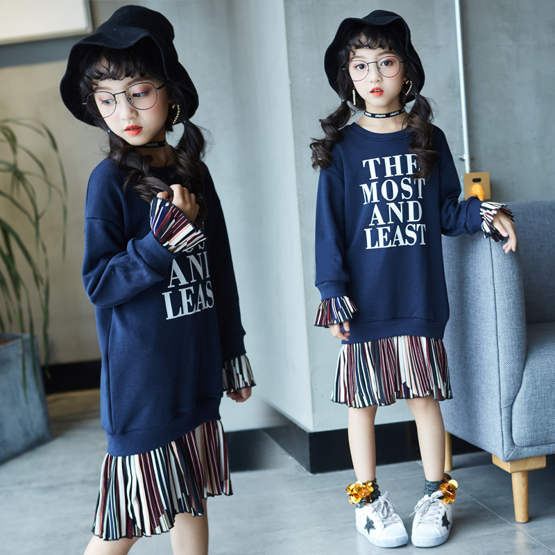 Kids Girls Long Sweatshirts 2018 Autumn Little Girls Dress Cotton Pullover Blue Kids Hoodie Dresses for Girls Long Sleeve Tops цена