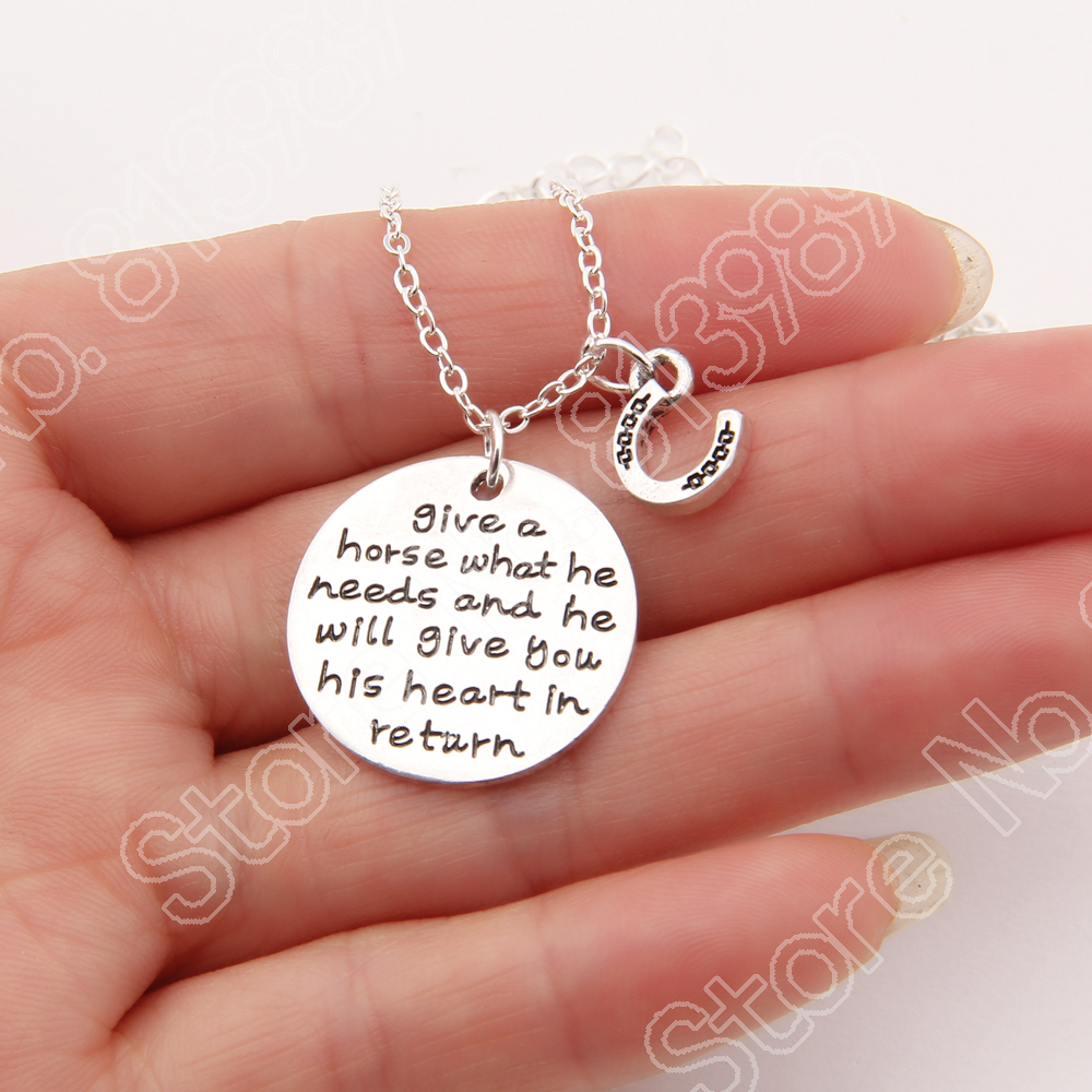 Give A Horse What he Needs Necklace Memorial Tag Horse Necklaces & Pendants Silver Plated Gold Women Choker Gift Girl Lead Free