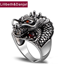 100% Real 925 Sterling Silver Ring Thai Silver Powerful Dragon for Men Ring Jewelry Vintage Mens Rings Fine Jewelry ZR2(China)