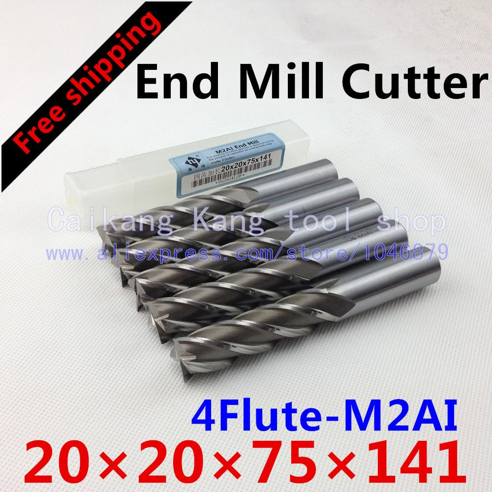 Free shipping 5/bag New 4flute M2AI dia 20mm end mill cutter machine tool CNC tools  Super-hard high speed steel 4F20*20*75*141 free shipping 400r 25 c25 300 end mill cutter end mill apmt1604 inserts cnc mill cutter cnc tool cnc tool mk new handbags