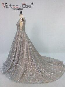 Image 2 - VARBOO_ELSA 2018 Silver Sparkly Long Evening Dress Sexy Double Deep V Neck Prom Dress Elegant Long Train Backless robe de soiree