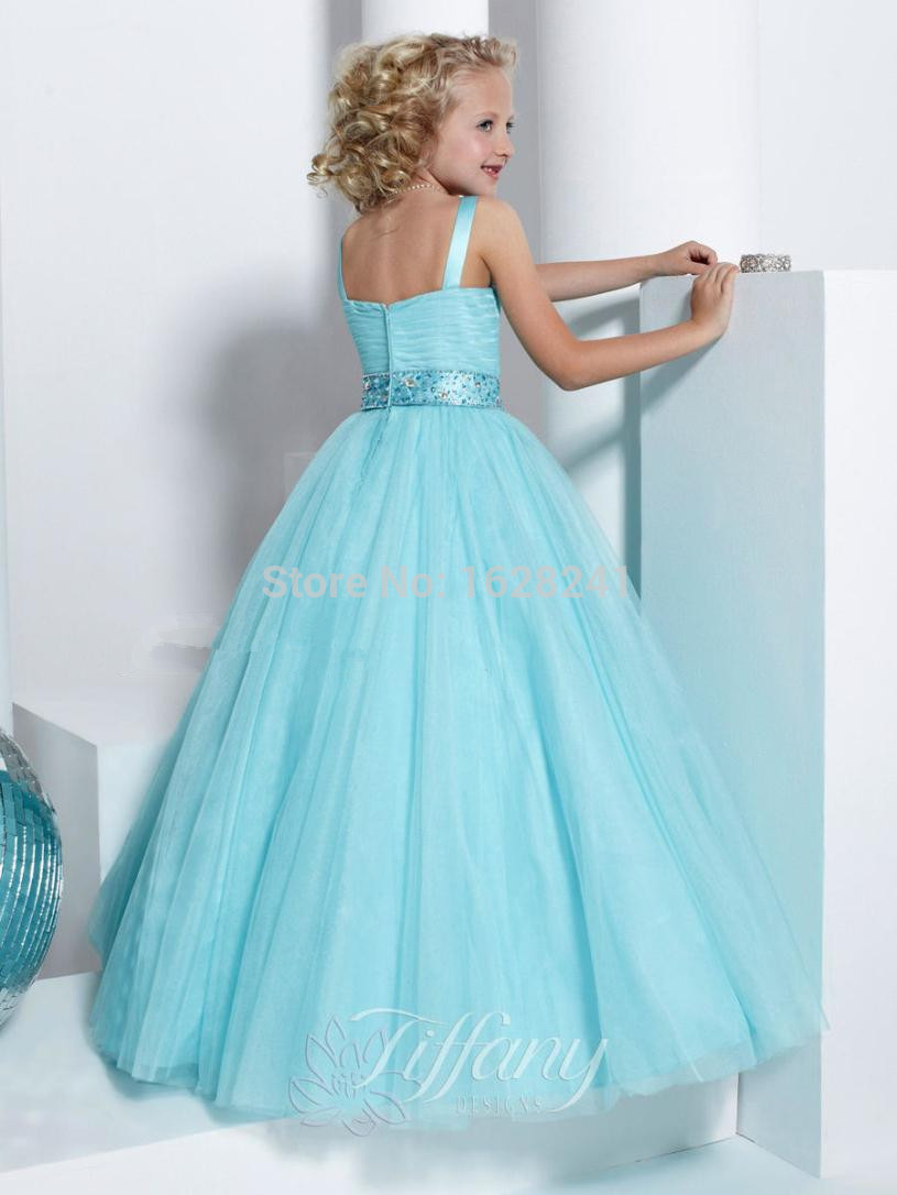 2016 Blue White Pink Gown Flower Girl Dresses For Weddings Shine