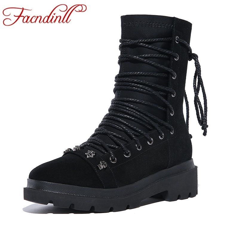 FACNDINLL 2017 new fashion women ankle boots shoes autumn winter genuine nubuck leather med heel black motorcycle riding boots women autumn winter boots 2016 new fashion genuine leather shoes woman ankle boots low heel square toe black shoes riding boots