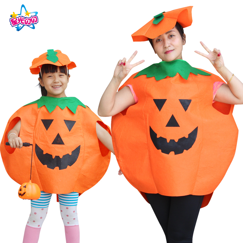 Free shipping Halloween Costumes Pumpkin Fancy Dress Party Adults Kids Children Cosplay Outfit Dress up