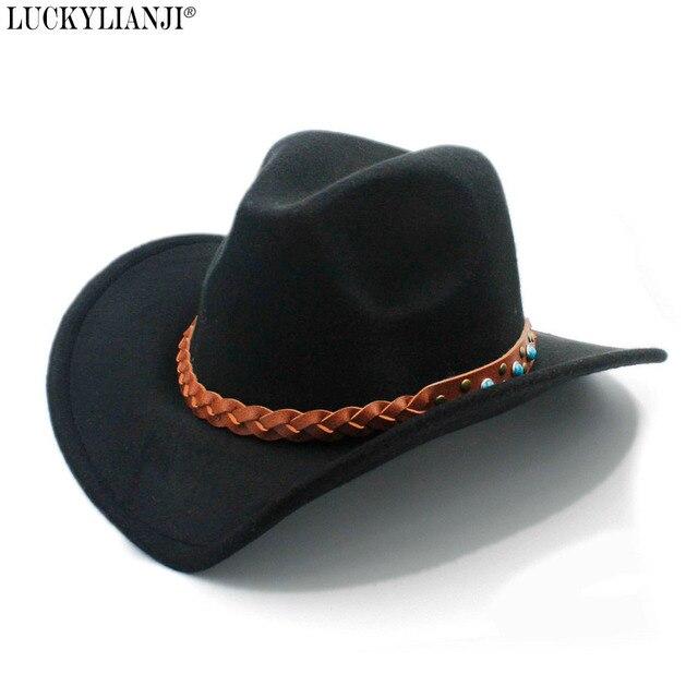 LUCKYLIANJI Wool Felt Western Cowboy Hat For Women Men Wide Brim Cowgirl  Turquoise Braid Leather Band 321dde4ab5da