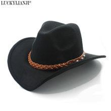 LUCKYLIANJI lana fieltro vaquero occidental sombrero para los hombres de  las mujeres de ala ancha vaquera 759545ab52b