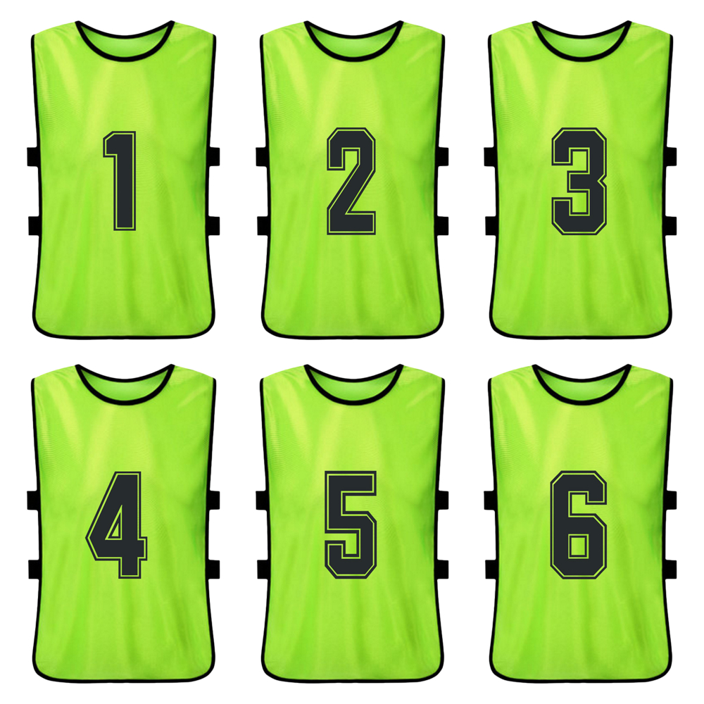 6 PCS Youth Sports Soccer Team Training Bibs Quick Drying Basketball Jersey Kid's Basketball Pinnies Practice Sports Vest