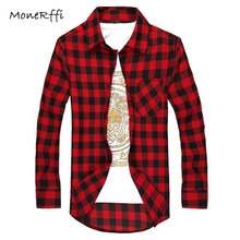 MoneRffi Men Plaid Shirt Spring Autumn Long Sleeve Cotton Shirts Turn-Down Collar Slim Fit Casual Breathable Tops Plus Size(China)