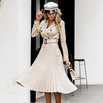 Vintage Style Pleated Belt Plaid Dress