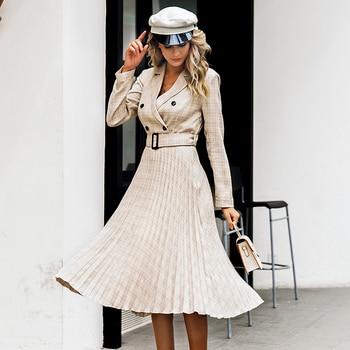 Vintage Style Pleated Belt Plaid Dress