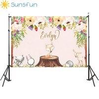 Sunsfun 7x5ft винил лесной Baby Shower фонов цветок животных День рождения Фон фотографии Опора фото Задний план
