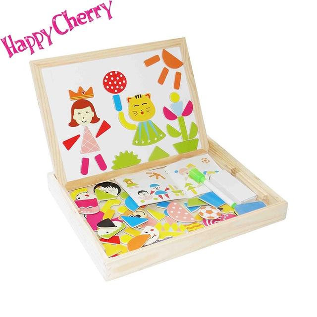 Счастливые Вишня Красочные Деревянные Магнитные Головоломки Альбом Drawingboard Деревянные Игрушки Развивающие Игрушки для Детских Детей