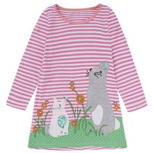 Girls Dress with Animal Applique Long Sleeve Princess Dress Children Costume Robe Fille Baby Girl Clothes Kids Summer Costume