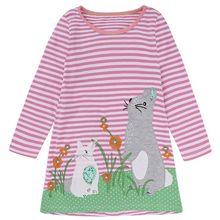 купить Girls Dress with Animal Applique Long Sleeve Princess Dress Children Costume Robe Fille Baby Girl Clothes Kids Summer Costume дешево