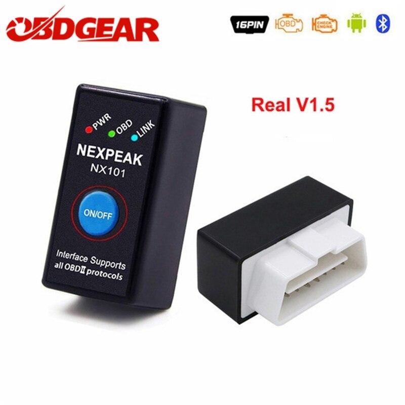 Mejor ELM327 V1.5 ODB 2 Autoscanner EML327 V1.5 OBD2 adaptador Bluetooth Mini Olmo 327 ODB 2 coche escáner de diagnóstico habla rusa