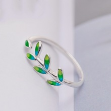 Elegant Cute Leaves Simple Ring Olive Branch 925  Silver Girls Gifts Women Jewelry Accessories Anillos