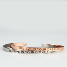 BELIEVE IN YOUR DREAM Stainless Steel Bangle Engraved Positive Inspirational Quote  Cuff Mantra Bracelets For Women believe in your dream stainless steel bangle engraved positive inspirational quote cuff mantra bracelets for women