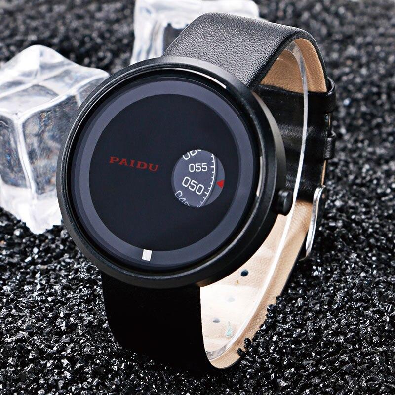 все цены на Reloj Hombre 2017 PAIDU Quartz Men Casual Leather Band Strap Special Triangle Analog Turntable Black/White Watch Male Erkek Saat онлайн