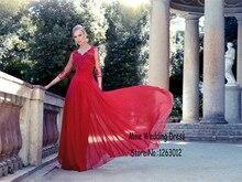 Sexy V-ausschnitt exquisite handgemachte blume halbarm Red abendkleid Spitze Und Chiffon Abendkleid robe de soiree lange
