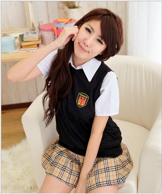 Hot COSPLAY student uniforms Sexy lingerie women costumes Sex Products toy Sexy underwear Role play( t-shirt+Kilt)
